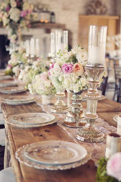 romantic silver mercury glass candlesticks