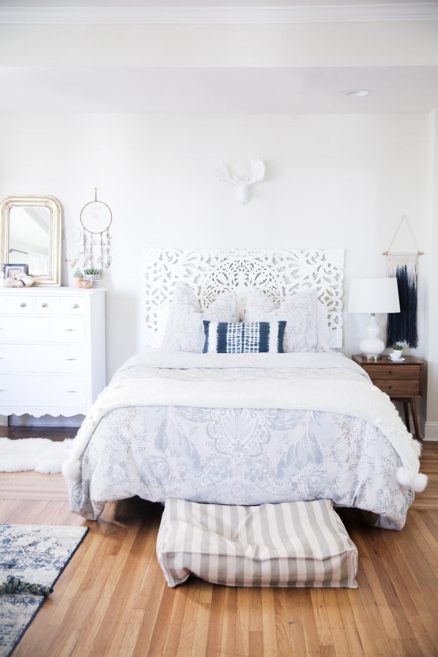 White Bohemian Bedroom tour this all white bohemian bedroom
