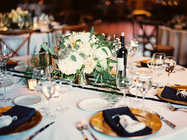 black and white stripe table runner hydrangeas gold