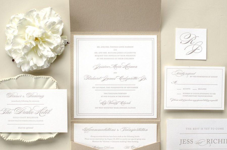 Elegant + Timeless Letterpress Wedding Invitation