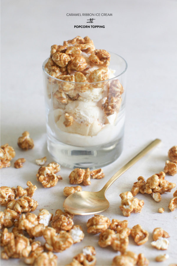 Larson Caramel Ribbon Ice Cream with Popcorn Topping Vanilla ice cream ...