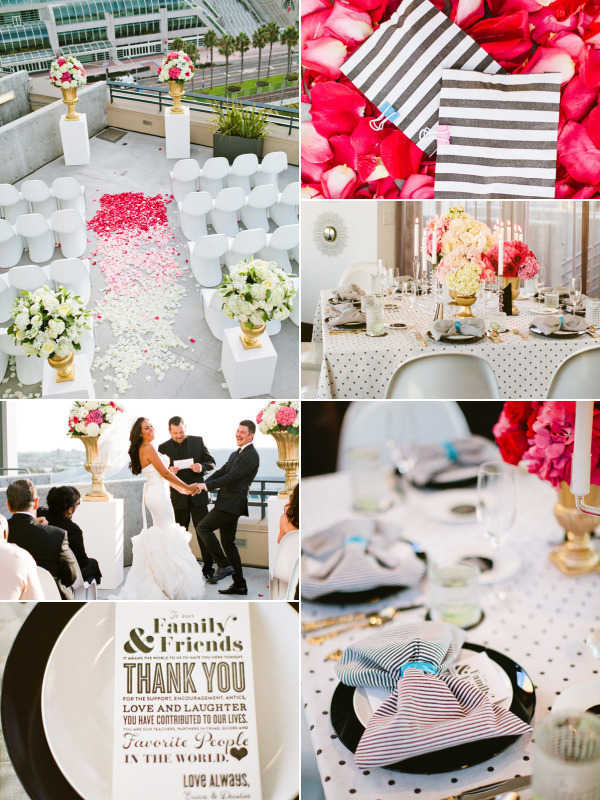 black and white wedding with pop of color, kate sapde wedding, jonathan adler wedding