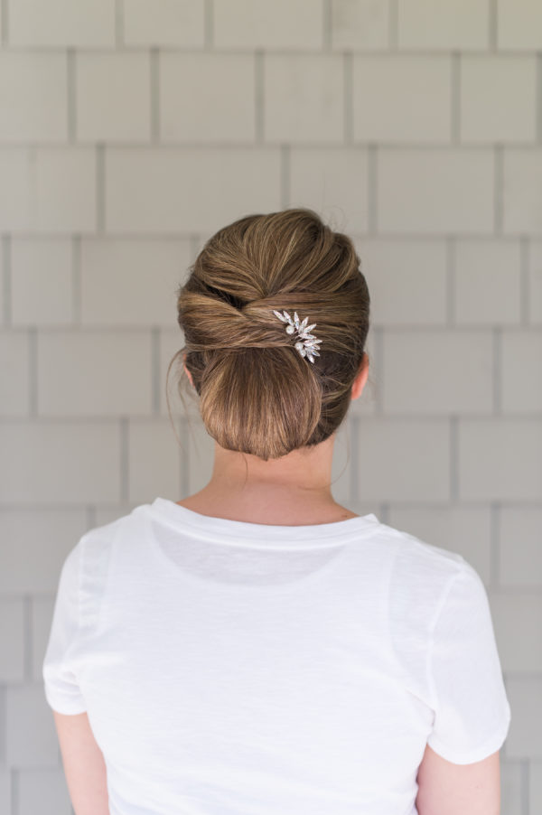 Easy Elegant Woven + Tucked Updo for Short Hair