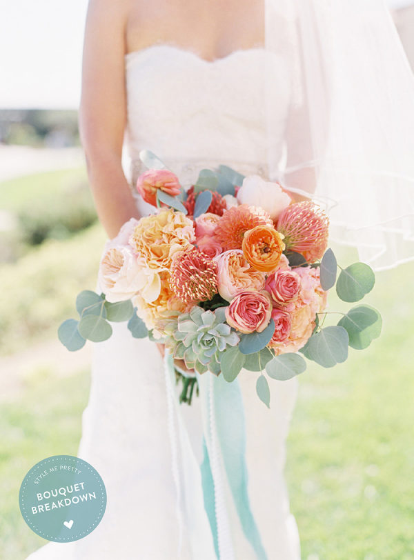Bouquet Breakdown: Coral Destination Seaside Wedding