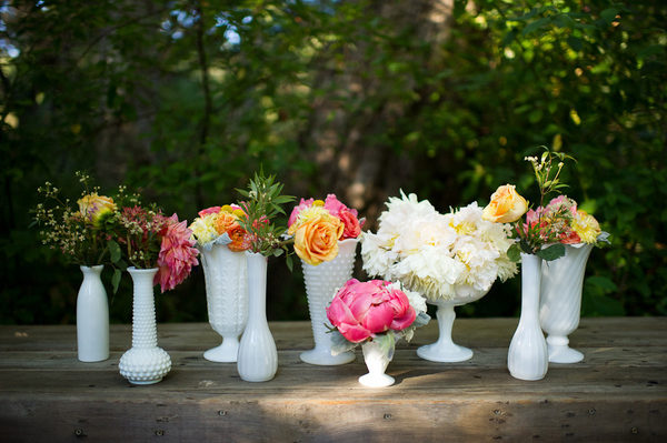 milk glass wedding pink orange
