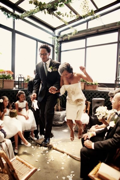 gorgeous couple, beautiful wedding, jumping the broom, couple, short wedding dress