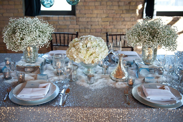 sparkly wedding reception table centerpiece