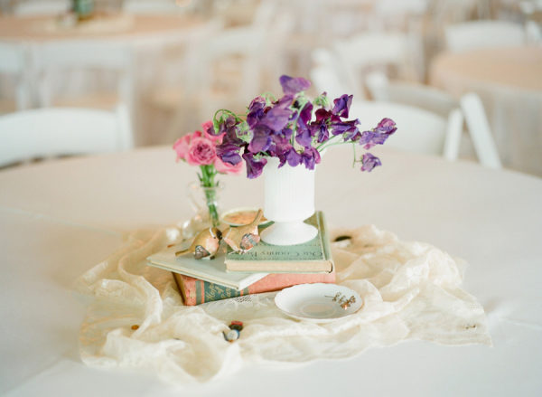 wedding milk glass reception