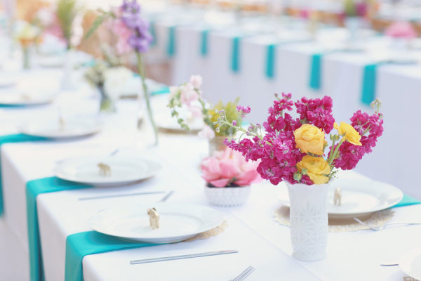 teal blue pink yellow milk glass wedding