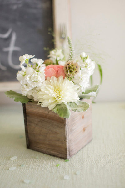 weathered wood planter box wedding