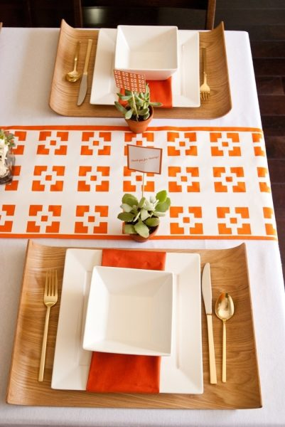 geometric decor wedding orange succulent