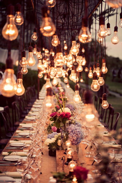 cafe lights over table wedding