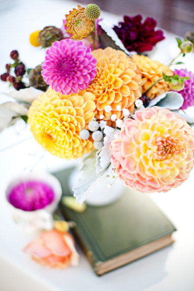 milk glass wedding dahlias orange purple