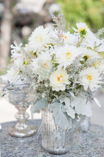 white flowers blue silver mercury glass