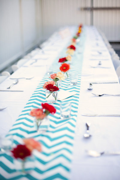 blue white chevron table runner
