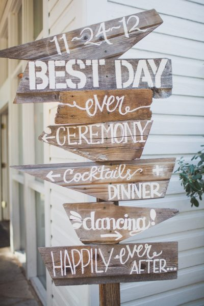 Wedding sign made from recycled wood