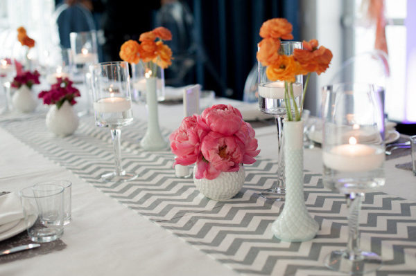 milk glass grey chevron table runner